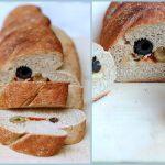 Pane farcito alle olive, formaggio e pomodorini secchi